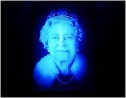 MultiSensory Hologram of the Queen. Temporary art installation